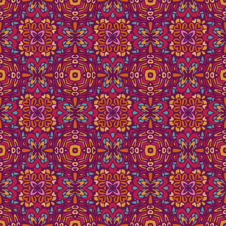 Tiled ethnic pattern for fabric. Abstract geometric mosaic vintage seamless pattern ornamental. Illustration