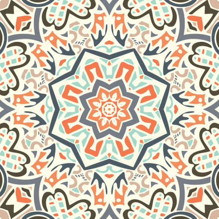 Ethnic geometric print. Colorful repeating background texture.