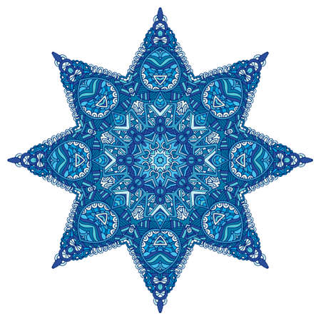 Star vector blue and white pattern with arabesques and floral elements. Doodle ornamental geometric new year symbol