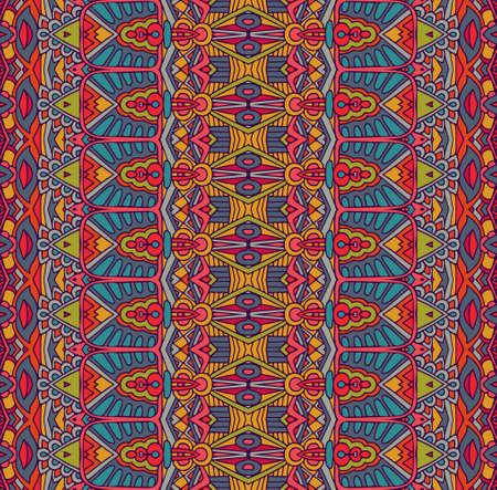 motivo festivo tribale etnico per tessuto. Ornamentale senza cuciture variopinto geometrico astratto. Design messicano