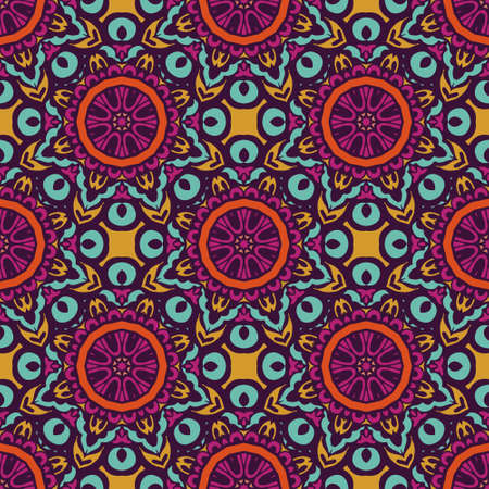 Tiled ethnic ccolorful pattern for fabric. Abstract geometric mosaic flowers ans circles seamless pattern ornamental 向量圖像