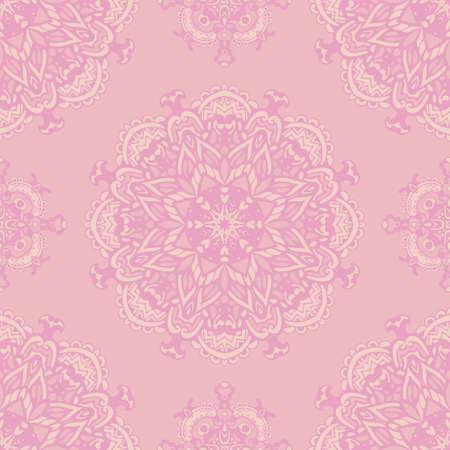 Cute pink vector seamless mandala flower pattern background. Vintage doodle floral surface design