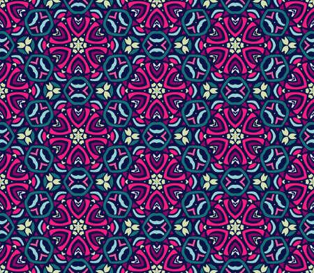 Flower retro art ethnic seamless design tiles . Festive colorful tiled pattern. . Geometric line art abstract frame border