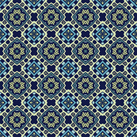 Tiled ethnic pattern for fabric. Abstract geometric mosaic vintage seamless pattern ornamental. Ilustrace