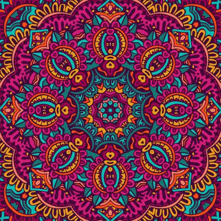 Tribal indian ethnic seamless design. Festive colorful mandala pattern. . Geometric mandala frame border