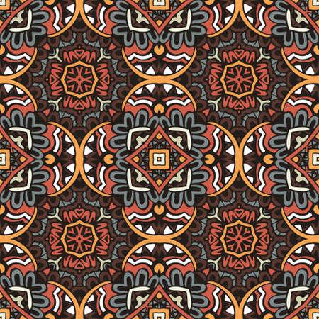 Vintage abstract geometric tiles bohemian ethnic seamless pattern ornamental. Hand drawn graphic print