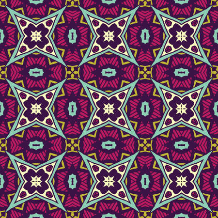 Tiled ethnic boho pattern for fabric. Abstract geometric mosaic vintage seamless pattern ornamental.