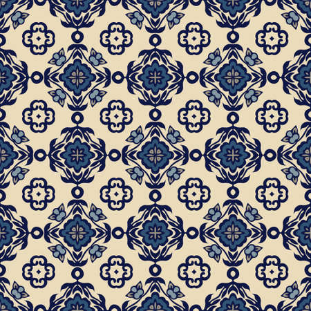 Traditional ornate portuguese decorative tiles azulejos. Vintage pattern. Abstract background. Turkish oriental ornament for wallpaper and fabric