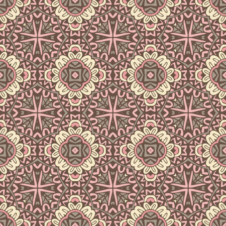Abstract paisley seamless pattern. Ethnic geometric print. Colorful repeating background texture. Fabric, cloth design, wallpaper, wrapping Illustration