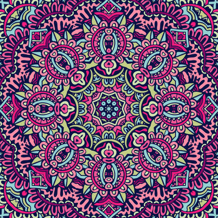 Mandala festival art seamless pattern. Ethnic geometric print. Colorful repeating background texture. Fabric, cloth design, wallpaper, wrapping Ilustrace