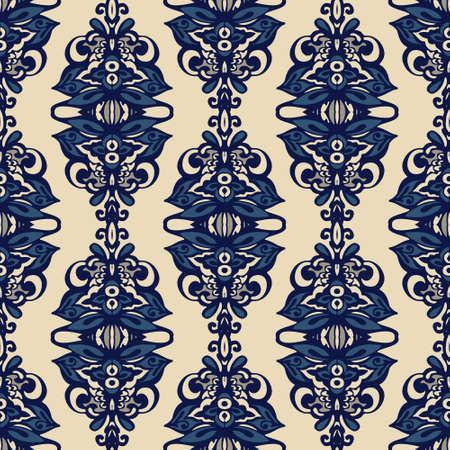 Blue oriental damask seamless vector design seamless wallpaper. flower ornamental pattern.