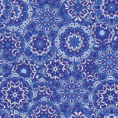 Blue mandala flower circles and snowflakes Damask seamless pattern blue background Ilustrace