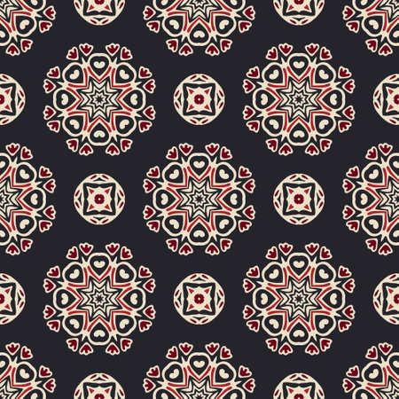 Flourish tiled pattern. Abstract mandala geometric seamless oriental background. Indian fabric pattern Ilustrace