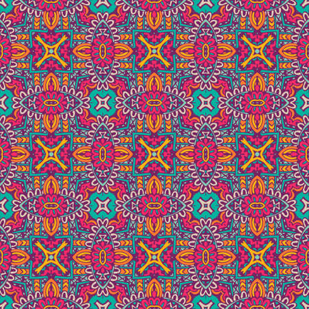 Tiled ethnic pattern for fabric. Abstract geometric mosaic vintage seamless pattern patchwork ornamental.