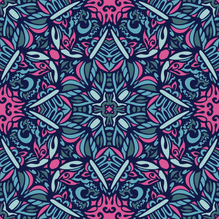 Abstract floral seamless pattern ornamental. Festive colorful background design. Geometrical Ethnic floral mosaic Ornament Ilustrace
