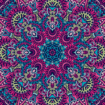 Indian floral paisley medallion pattern. Ethnic Mandala ornament. Henna tattoo style. Can be used for textile, greeting card, coloring book, phone case print Vektorové ilustrace