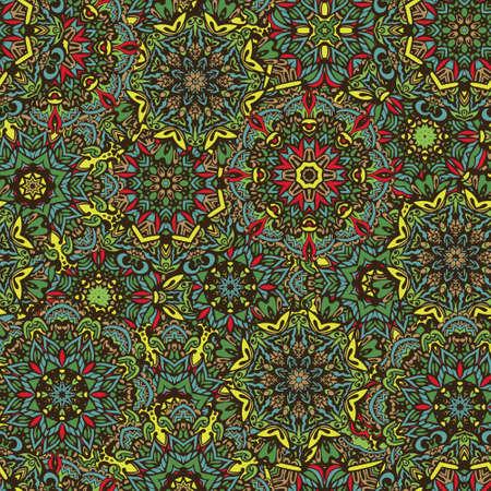 Colorful Tribal Ethnic Festive Abstract Floral Vector Pattern. Geometric mandala frame border