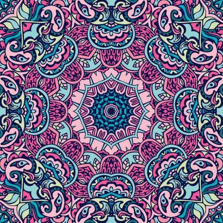 Stammes indisches ethnisches nahtloses Design. Festliches buntes Mandalamuster. . Geometrische Mandala-Rahmengrenze Vektorgrafik