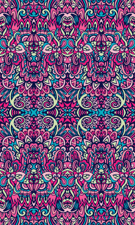 Beautiful vector vintage floral damask motif seamless pattern. Arabesque liquid endless texture. Fantasy colorful festive background Illustration