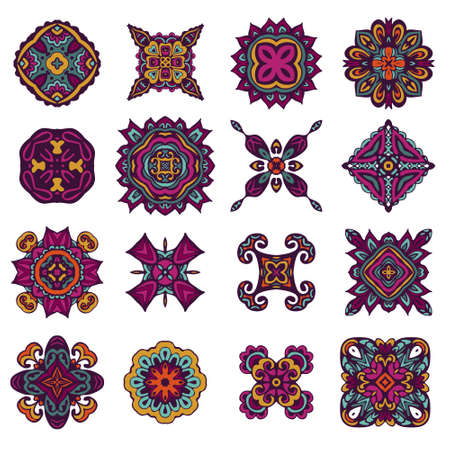 Colorful boho ethnic decorative elements. Vector set of various ornaments, deco template.