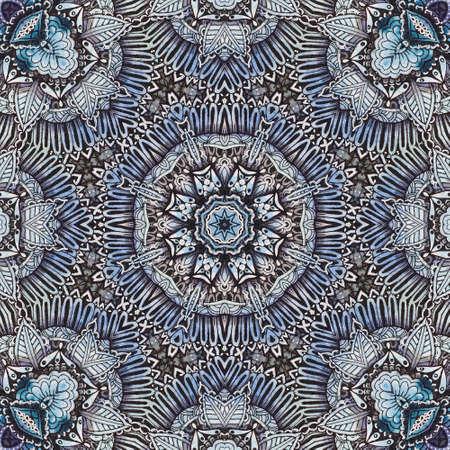 Watercolor abstract ornamental mandala handdrawn backround. Digital art clipart for scrapbooking