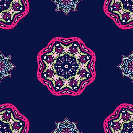 Mandala star Damask seamless tiled motif vector pattern Banque d'images - 131949188