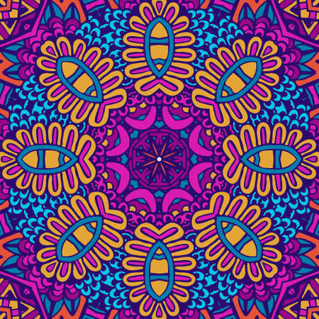 Indian floral paisley medallion pattern with mandala in handdrawn doodle style. Colorful festival seamless pattern