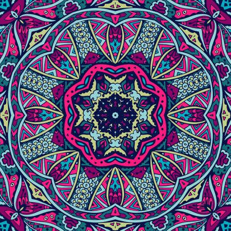Festival art vector seamless pattern mandala. Ethnic geometric print. Banque d'images - 131949193