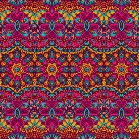 Vector seamless pattern ethnic tribal geometric psychedelic colorful print