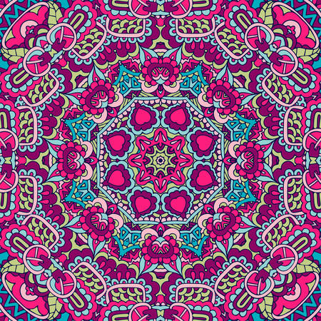 Tribal indian ethnic seamless design. Festive colorful mandala pattern Banque d'images - 131955834
