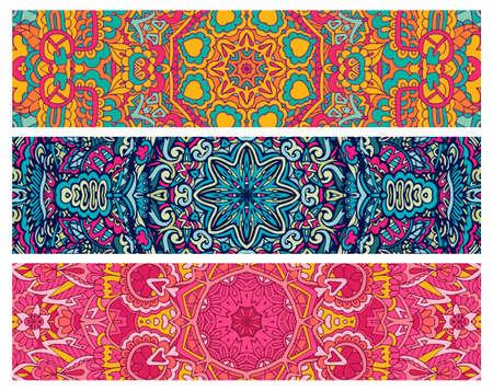 Festive colorful ornamental tribal style vector ethnic bohemia fantasy abstract banner set Illustration