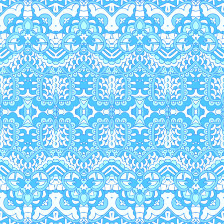 Blue seamless pattern tiles in doodle handdrawn zenart inspirated style