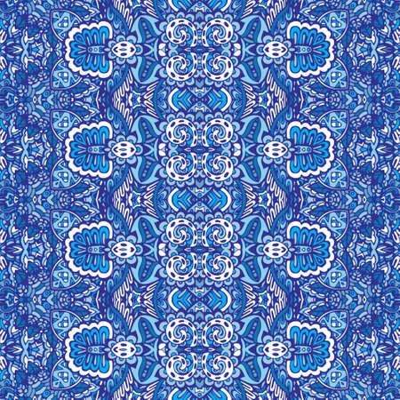 Texture seamless vector pattern arabesque from blue and white oriental tiles, ornaments doodle