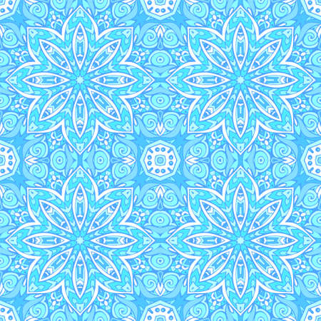 Tiled ethnic pattern for fabric. Abstract geometric mosaic vintage seamless pattern ornamental.  イラスト・ベクター素材