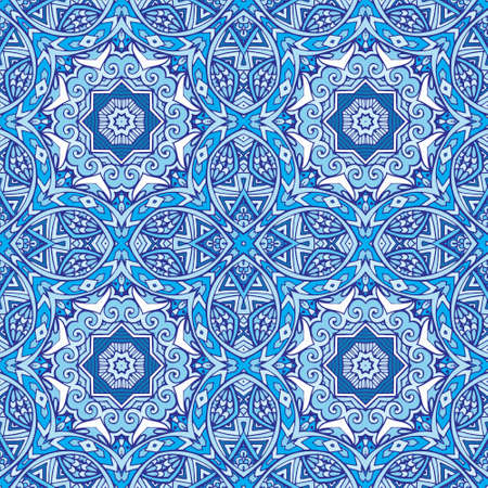 Blue seamless pattern ceramic tiles in doodle handdrawn zenart style