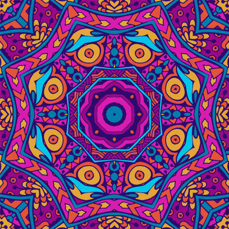 Tribal indian festival seamless design. Bright colorful mandala art pattern. Banque d'images - 131955846