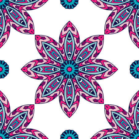 Indian floral paisley medallion pattern. Ethnic Mandala ornament.  イラスト・ベクター素材