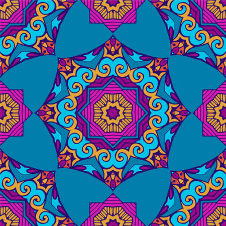 Seamless pattern mandala ornament. Vintage decorative colorful intricate abstract round ornament. Surface fill