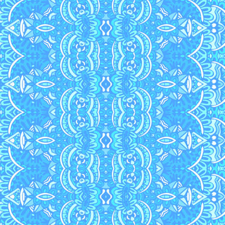 Tribal vintage abstract geometric ethnic seamless pattern ornamental. Doodle art blue color textile design 写真素材