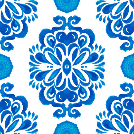 Abstract blue and white hand drawn textured tile seamless ornamental watercolor pattern. Elegant old fashioned texture for fabric and wallpapers, backgrounds and page fill.
