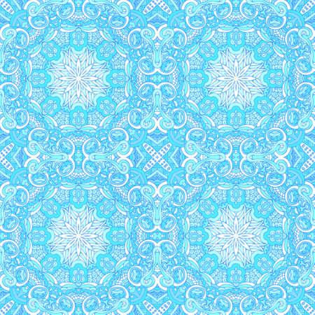 Decor tile texture print mosaic oriental pattern with blue ornament arabesque.
