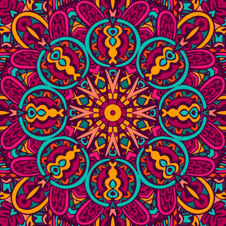 Colorful Tribal Ethnic Festive Abstract Floral Vector Pattern. Geometric tangle mandala frame border