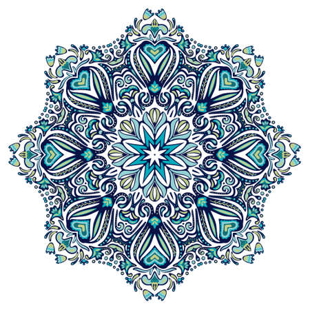 Abstract Winter Blue ethnic geometric mandala. Cute floral frame in folk art style