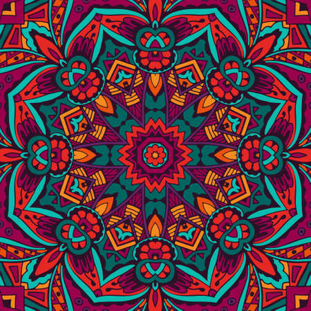 Tribal indian ethnic seamless design. Festive colorful mandala pattern.