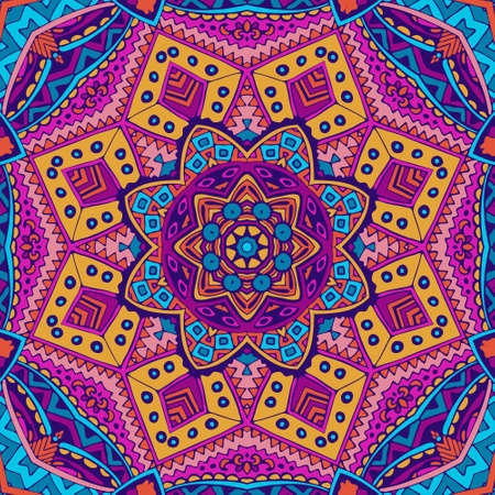 Festive colorful geometric psychedelic mandala pattern design 向量圖像