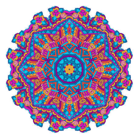 Colorful festive floral mandala round ornamental folk art style