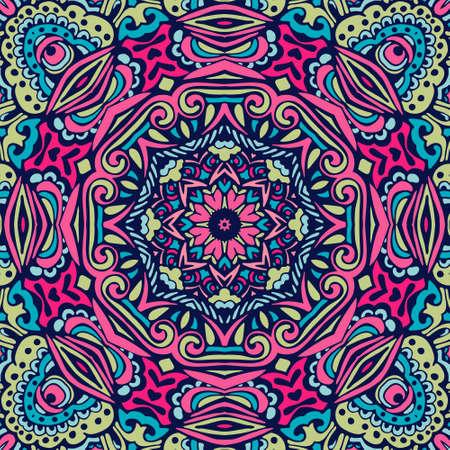 Mattonelle senza cuciture con mandala. Elementi decorativi d'epoca. Sfondo disegnato a mano. Motivi orientali, arabi, indiani, ottomani. Perfetto per la stampa su carta da imballaggio in tessuto, stoffa.