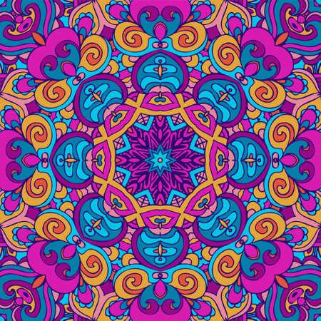 Conception ethnique ethnique indienne tribale sans couture. Motif de mandala coloré festif. Fleurs boho fantaisie mandala géométrique. Fond du festival Holi Vecteurs