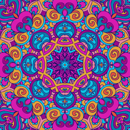 Tribal ethnic indian ethnic seamless design. Festive colorful mandala pattern. Geometric mandala fantasy boho flowers. Holi festival backgrounnd