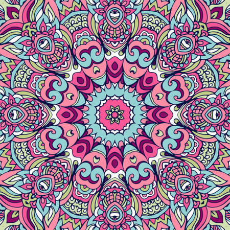 Tribal indian ethnic seamless design. Festive colorful mandala pattern. Geometric mandala frame border Ilustração